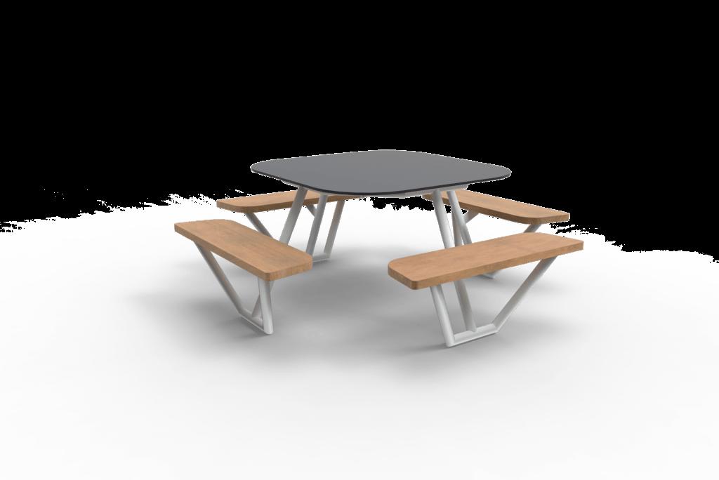 Witte picknicktafel met houten zitvlakken en grijs tafelblad van Inter Design