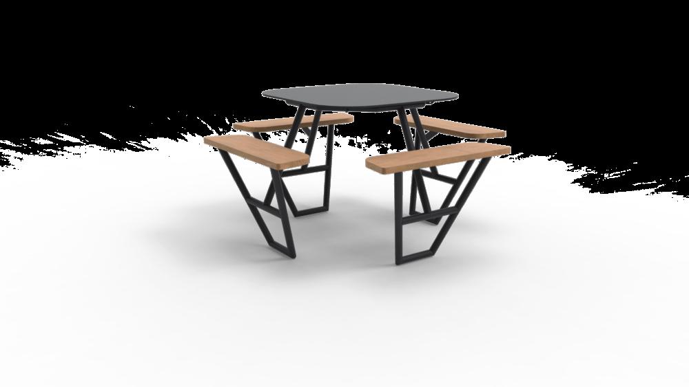 FIBER I Bar met zwart onderstel houten zitvlak en grijs tafelblad