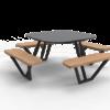 Zwarte picknicktafel met houten zitvlakken en grijs tafelblad van Inter Design