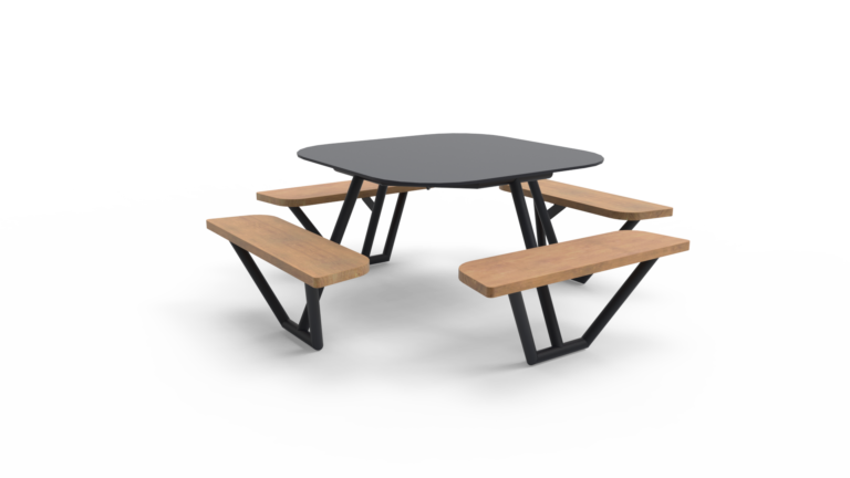 FIBER I picknicktafel met houten zitvlakken van Inter Design