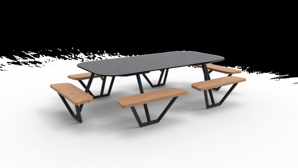 FIBER II met zwart onderstel, houten zitvlakken en grijs tafelblad