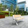 Tuinbank LIGNA Comfort in witte uitvoering in de buitenruimte (1)